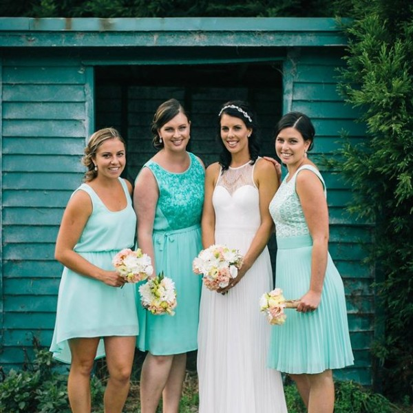 Joanne Andrews and bridesmaids